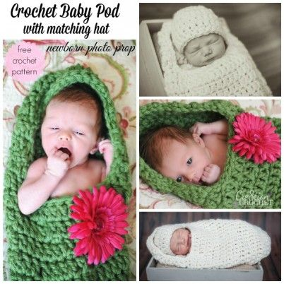 Newborn Photo Prop. FREE crochet pattern for baby pod with matching hat. #cre8tioncrochet