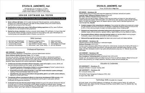 Sample Resume for an Experienced QA Software Tester