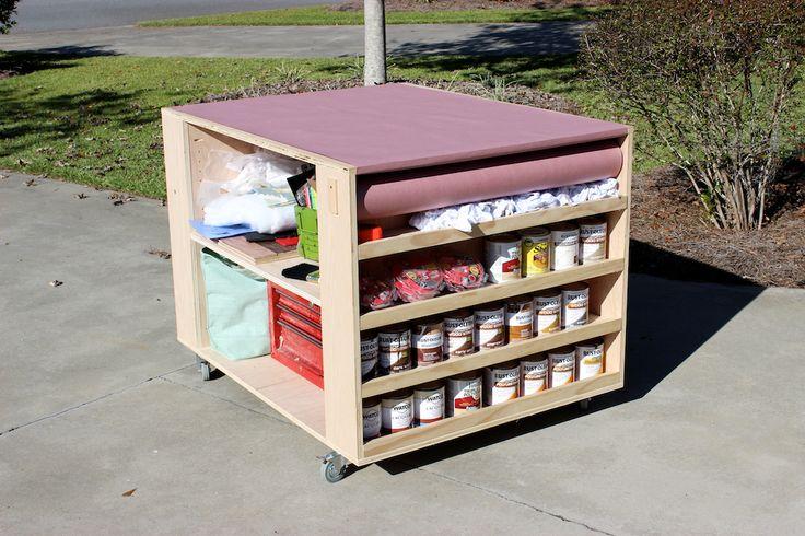 DIY Portable Workbench with Storage   Free Plans   rogueengineer.com #DIYworkbench #garageDIYplans