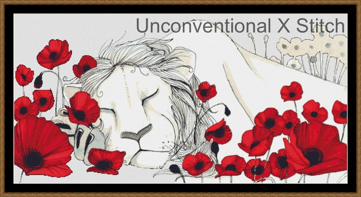 Lion in poppies cross stitch pattern - Soporific - Licensed Brianna Reagan by UnconventionalX on Etsy