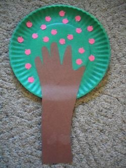 This is a cute craft to do based off of the book The giving tree. What you will need is brown construction paper, a paper plate and some red cotton balls to use as the apples. Have the kids paint their plates green and then have them glue the red cotton balls on it. Then have trace the childs arm and cut it out so that is the treeels trunk.: