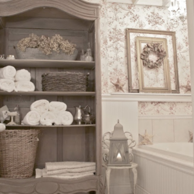 : Decor, Cabinets, Ideas, French Country Cottages, Country Bathroom, Bathroom Storage, Cabinets, French Cottages, Cottages Bathroom