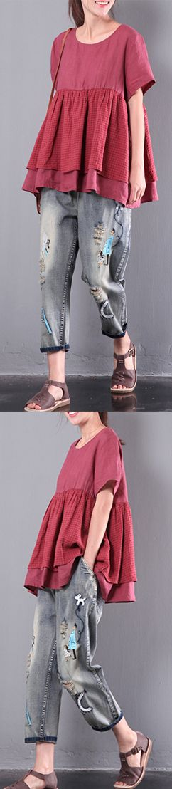 red casual patchwork tops oversize cotton blouse o neck t shirt
