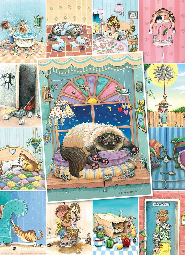 Cat's LIfe. Artist Gary Patterson. Eurographics jigsaw puzzle 500 pieces. A collage of hilarious every day cat situations.