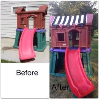 Took a Little Tikes Timbertop Treehouse that I got from craigslist and turned into a pirate themed slide.