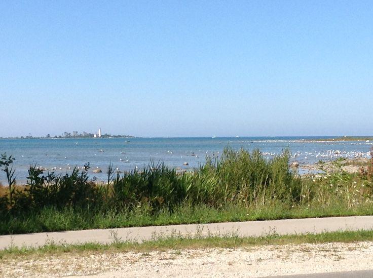 A running path beside Lake Huron.