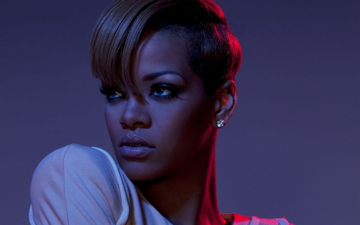 Descargar fondos de pantalla Rihanna, Retrato, corte de pelo corto, la Americana de un cantante famoso, maquillaje, Robyn Rihanna Fenty