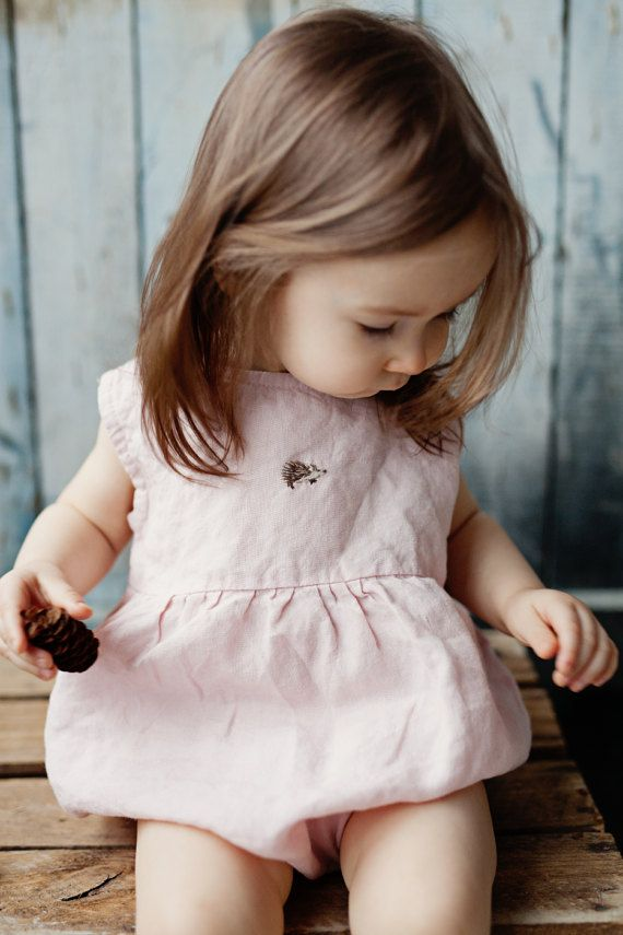 Handmade Linen Romper With Hedgehog Embroidery | Lapetitealice on Etsy