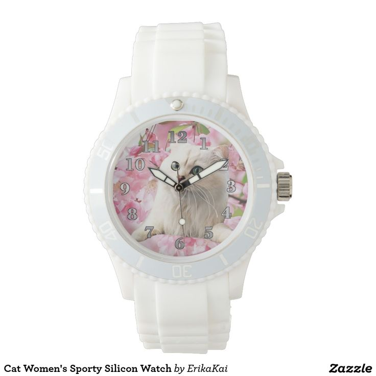 White Cat and Pink Flowers Women's Sporty Silicon Watch, white or pink.