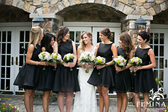 Short Black Bridesmaid Dresses; Olde Mill Inn Wedding - courtesy of www.feminaphoto.com