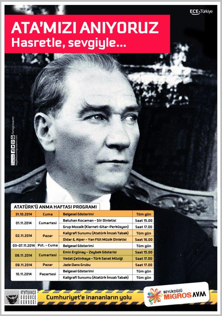#BeylikdüzüMigros AVM 10 Kasım tarihine kadar gerçekleştireceği Atatürk Haftası etkinlikleri ile Ulu Önder Mustafa Kemal Atatürk'ü bir kez daha saygı ile anacak.  Belgesel gösterimleri, müzik dinletiler, zeybek gösterilerinin gerçekleşeceği aktivitelere tüm ziyaretçilerimizi bekliyoruz.
