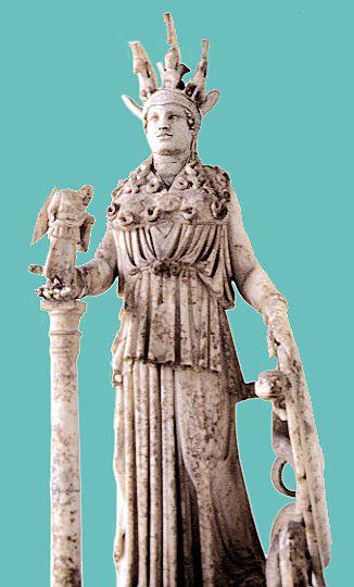 "marble statue of Athena: small Roman copy of Pheidias's Athena Parthenos from 5th century BCE  ""Varvakeion Athena""; Athens, National Archaeological Museum"