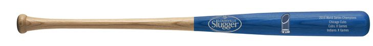 """Chicago Cubs Bat - 34"""" - Half Dipped with Logo & Game Stats - 2016 World Series Champs"""
