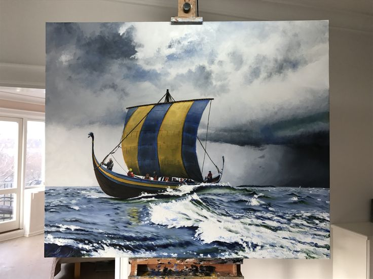 My painting of Ladbydragen. It's the reconstruction of Ladbyskibet, a viking ship buried with it's chieftain a 1000 years ago in Ladby, Fyn. It's been built by a group of volunteers, including my dad, using only historic methods and tools. I was fortunate to help launch it with him last year, and soon it'll sail the Scandinavian seas as it's predecessor. The painting is my gift to my very skilled dad, who did a big part of the wood work with his viking axe. See more at Jonaslinell.com