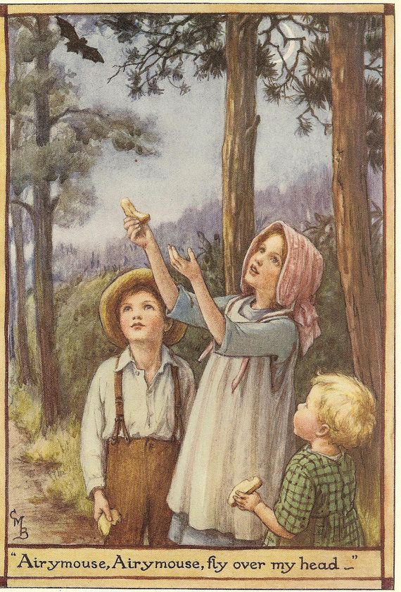 Vintage 1928 Cicely Mary Barker Children's Print Three Young Children In Woods Bread In Hands Bat Flying Overhead Book Plate Illustration