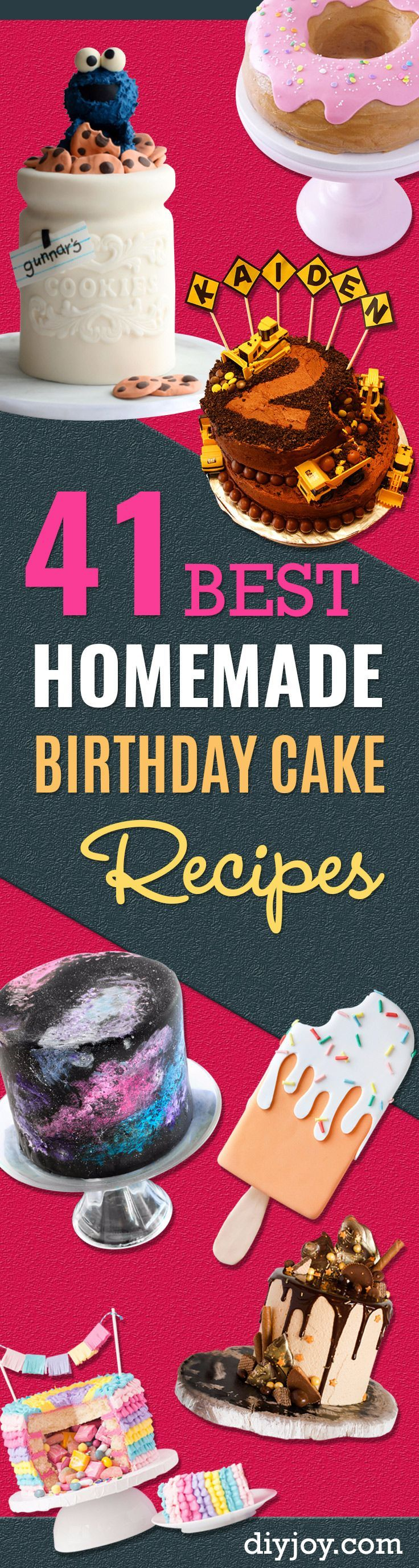41 Best Homemade Birthday Cake Recipes - Birthday Cake Recipes From Scratch, Delicious Birthday Cake Recipes To Make, Quick And Easy Birthday Cake Recipes, Awesome Birthday Cake Ideas http://diyjoy.com/best-birthday-cake-recipes