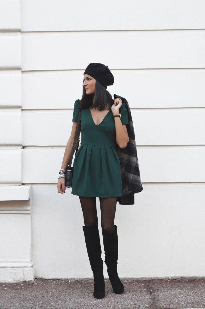 Combi short verte robe verte zara nouveau blog mode cape a carreaux bottes cuissardes