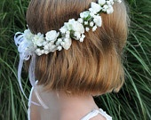 White sweet pea, hydrangea with berries, communion or flower girl hair wreath accessory.. $39.00, via Etsy.