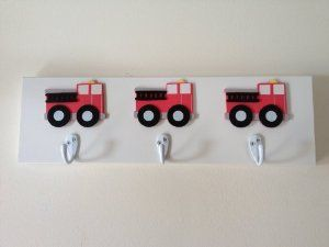Amazon.com - Boys Red Fire Truck 3 Wall Hooks Boys Bedroom Truck Wall Decor Nursery Room Decor -