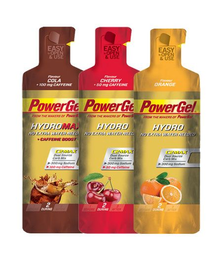 POWERBAR - POWERGEL HYDRO (24 Gels) - Liquid energy gel with C2MAX Dual Source Carb Mix and extra sodium.
