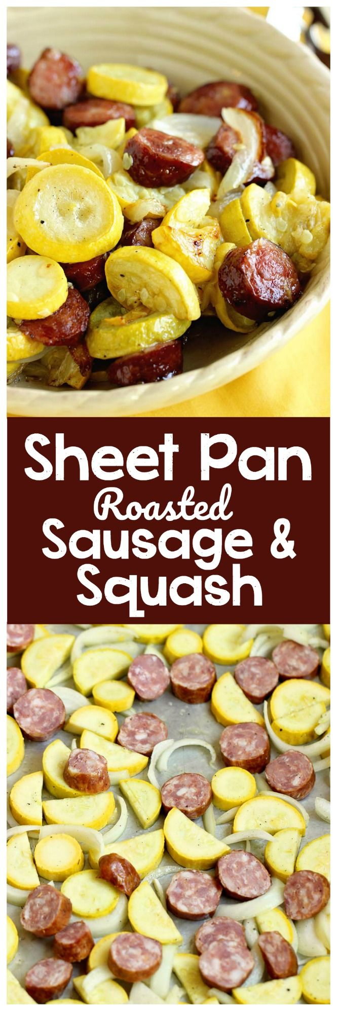 Sheet Pan Roasted Sausage and Squash - A quick and easy recipe with only a few ingredients. It's perfect as a main dish or a side dish recipe.