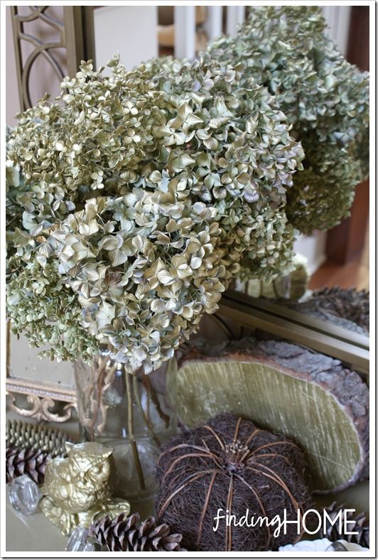 Gold Spray Painted Hydrangea