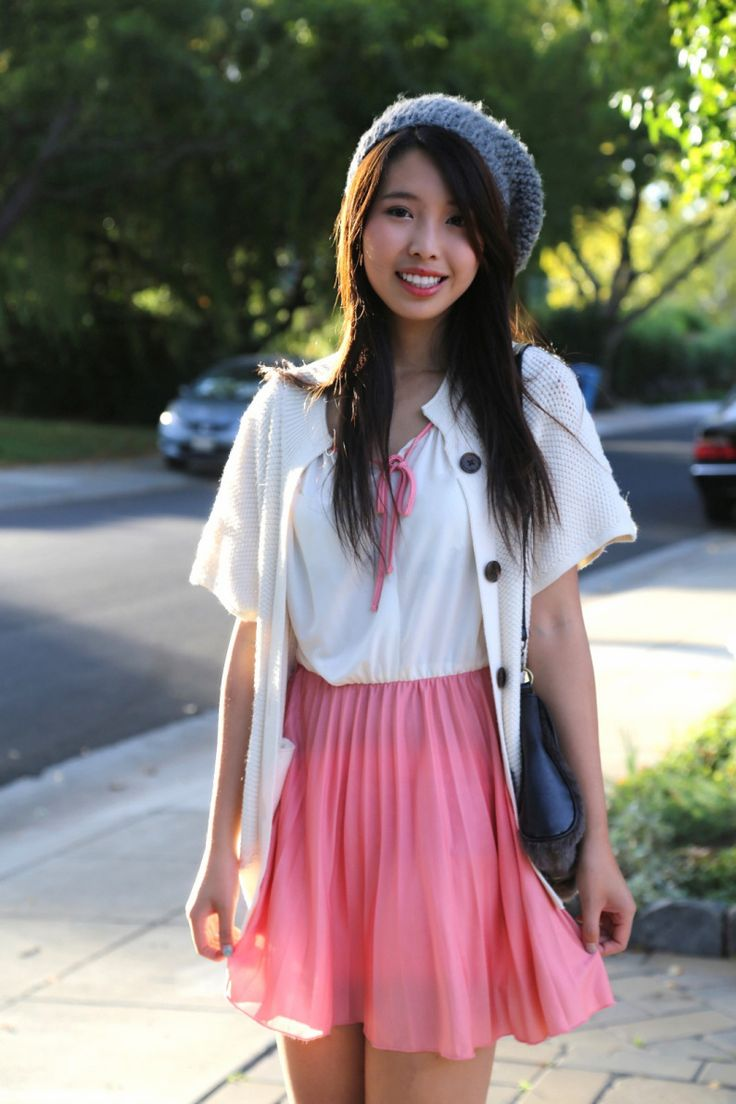Ally Gong Asian Girl Beret Pink Dress Palo Alto Fashion