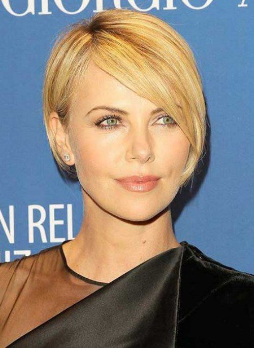 Charlize Theron Asymmetrical Short Bob Hairstyles 2017