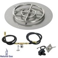 Gas Fire Pit Kit Round Flat Pan with Spark Ignition with Natural Gas Connection