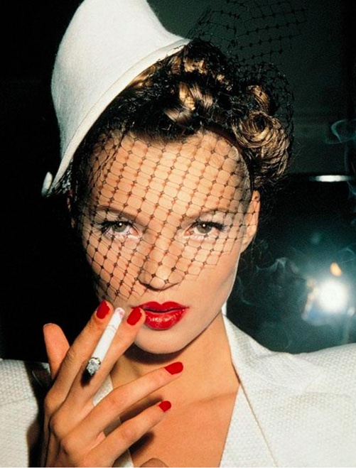 Kate with Fag in Galliano, Paris, 1994