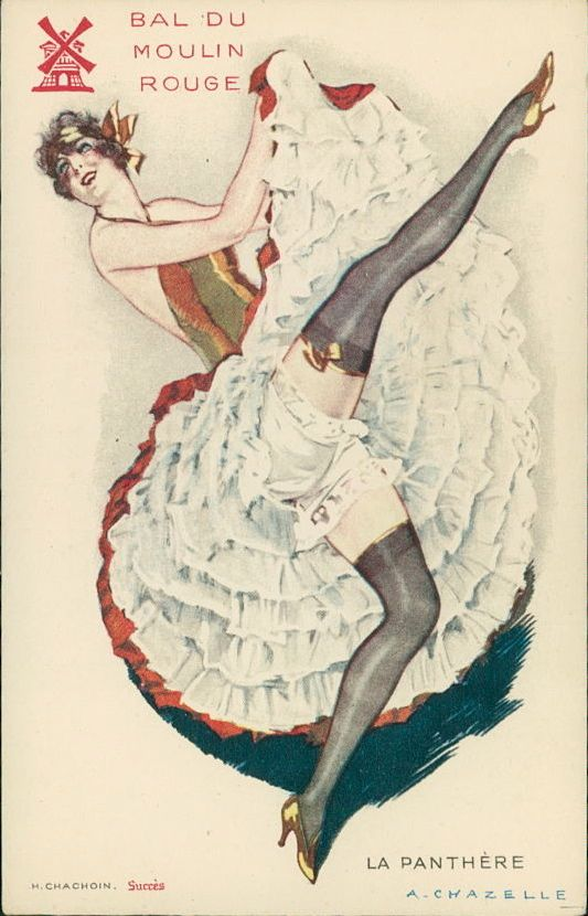 """""""La Panthere"""" ~ French Moulin Rouge dancer postcard by A. Chazelle"""
