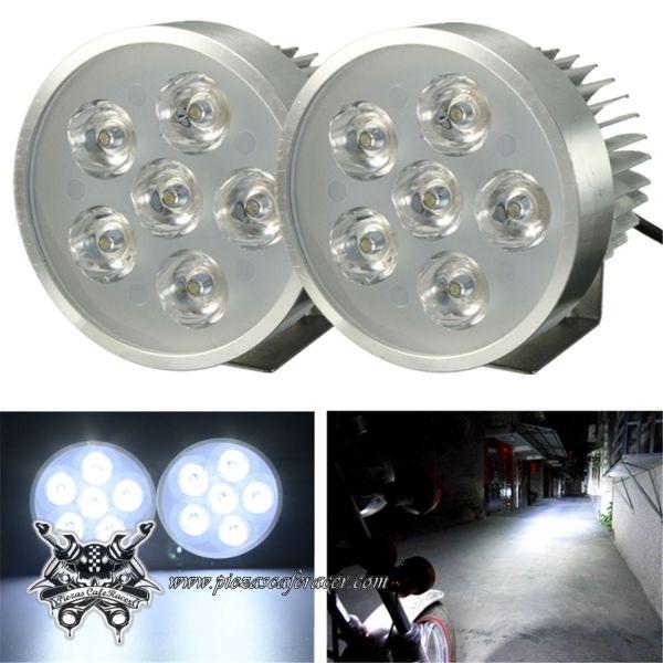 2X Faros AntiNieblas con Soporte LED Para Moto Coche Quad 12V 18W Color Plata -- 19,86€