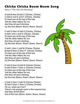 Chicka Chicka Boom Boom Song- I loved this in 1st grade with Mrs. Mulford! :)