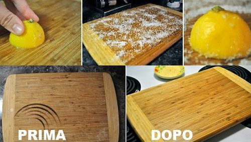 Before and After - How to clean cutting board and kitchen wood utensils.