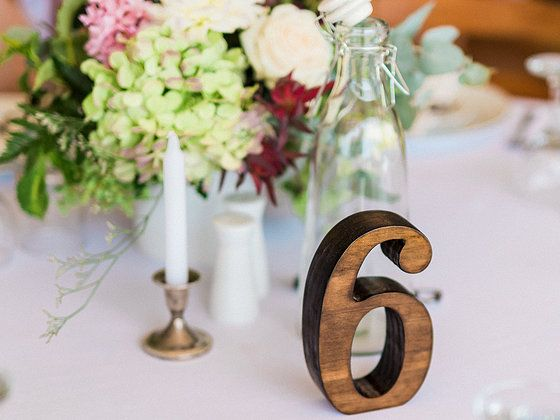 Table Numbers and Accessories by West End @ a summer Taree wedding #wooden #table numbers #taree #candleholder #water
