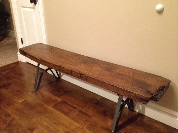 Wood Slab Or Reclaimed Beam Metal Legs Bench Coffee