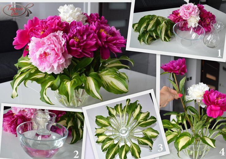 wazonowa alternatywa, kwiaty, piwonie, funkia,