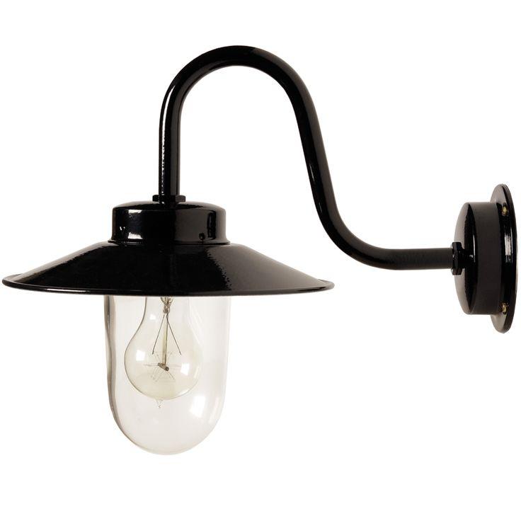 Blank svartlackerad lampa med klart stallglas. E27-sockel, 75W, IP23. Bygger 405 mm ut från vägg. Skärmdiameter 250 mm.