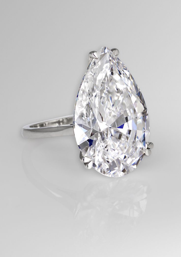 David Morris 22.22ct pear-cut diamond engagement ring.