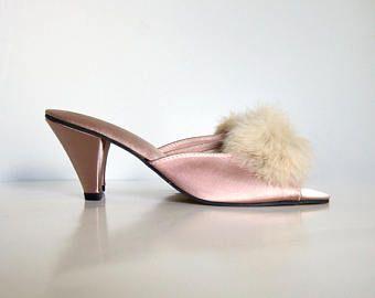 Vintage Bedroom Slippers Satin Shoes Boudoir Slippers Pinup Heels Rose Pink  High Heels Sz 6