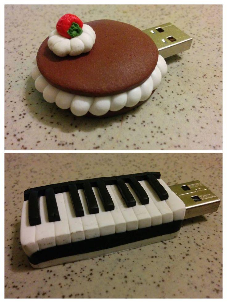 Fimo USB Flash Drivers! Piano and cake