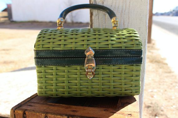 Vintage 1960's Green Wicker Purse