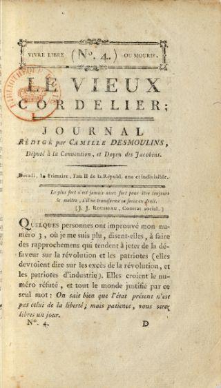 Le Vieux Cordelier n° 4 Camille Desmoulins, décembre 1793. in-8° BnF, Philosophie, Histoire, Sciences de l'homme, 8-LC2-804 © BnF