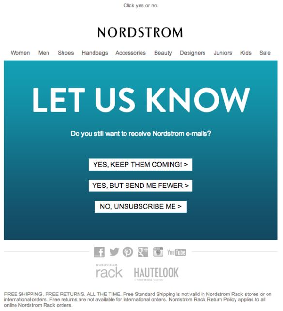 Nordstrom Re-engagement email 2014