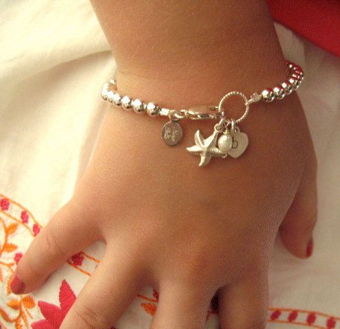 Tiffany style beach girl starfish initial bracelet /flower girls. $39.00, via Etsy.