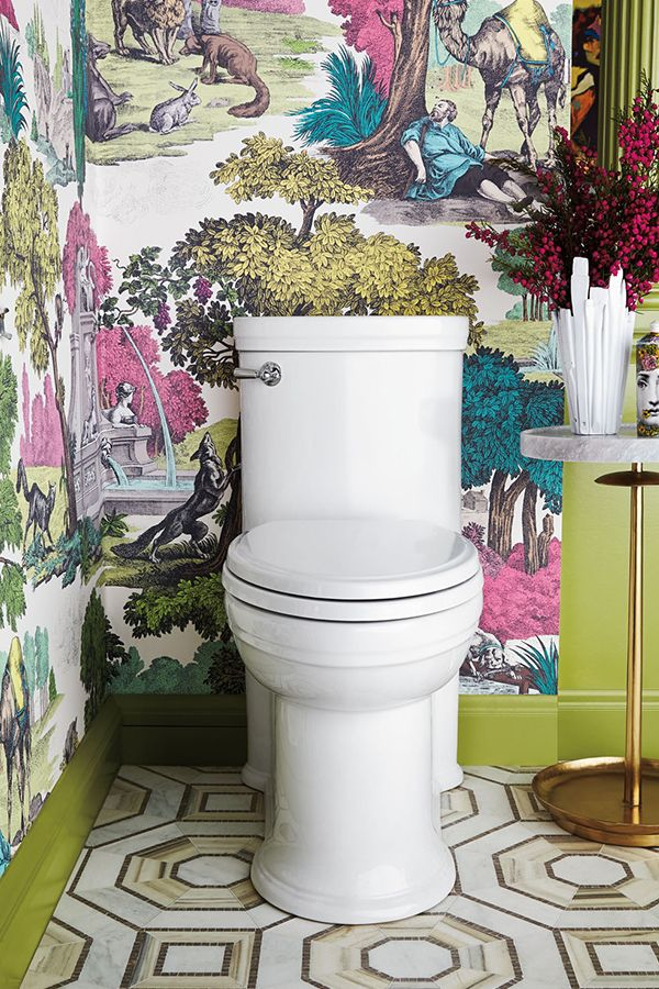 The St. George One-Piece Elongated Toilet is a standout amidst a colorful backdrop. It's one corner of Corey Damen Jenkins' Classic #DXVDesignPanel creation, inspired by the city of Florence.