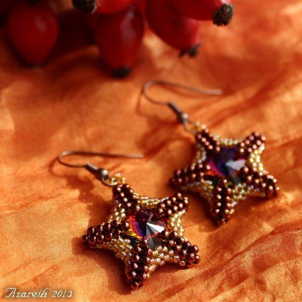 Bronzovo-medové+hvězdice+Tento+šperk+měl+tu+čest+být+součástí+nádhernéhoTop+výběru+Když+slunko+zapadáautorky+Fanny.+Těmto+náušničkám+jsem+neodolala+a+nechala+jsem+si+je+pro+sebe.Pokud+Vás+zaujaly,+můžu+jena+objednávkuušít+i+pro+Vás!Jedná+se+o+ruční+práci,+proto+se+výsledné+náušnice+mohou+v+detailech+lišit+od+těch+na+fotkách.+Krásné+náušnice...