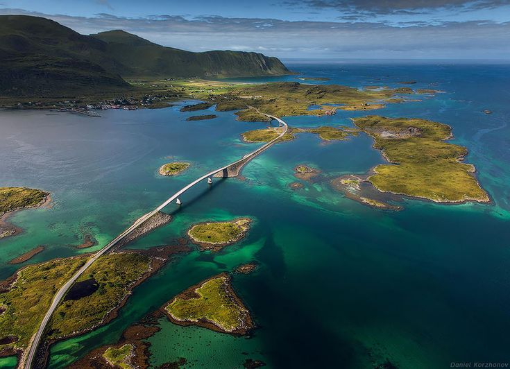Lofoten Islands, Fredvang Bridges, Norway  The Fredvang Bridges were originally opened back in 1988; the bridges connect the islands of the Lofoten archipelago to one another.