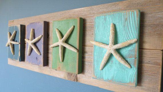 Add hooks! Wall Hanging Turquoise Green Purple Blue Starfish Upcycled Nautical Seashore Decor Ocean Decor Seastar Beach Decor Natural Wood