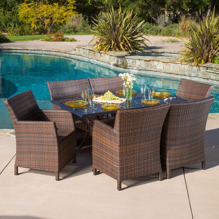Madison Outdoor 7pcs Cast Aluminum Wicker Dining Set